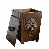 6L резьба по дереву мусорная корзина экологичный двухслойный мусорный ящик мусорное ведро для хранения для гостиной кухни Автомобильная ко