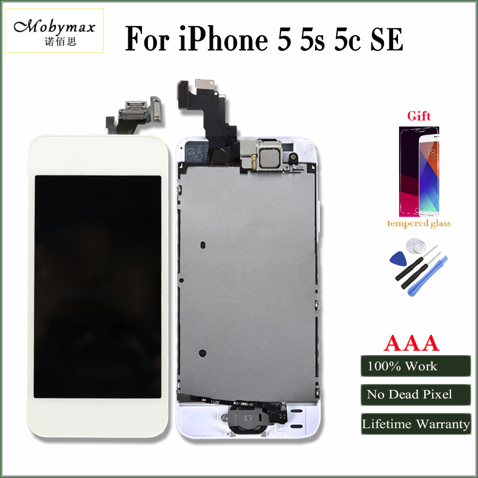 Mobymax AAA All tested factory lcd screen digitizer for iphone 5 5s 5c 6 6s full assembly frame+front camera with gifts