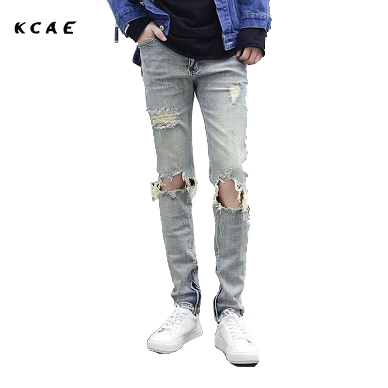 KCAE Brand 2017 New Rock Moto Mens Designer Clothes Fashion Distressed Ripped Skinny Denim Biker Jeans Men Do Old Color Zipper бокс для хранения вещей 100 yi special snx003