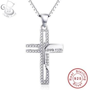 BEBE collar de colgante de Cruz de cristal SWA Element de plata esterlina 925 auténtica, collar de joyería de San Valentín para mujer de 16 pulgadas