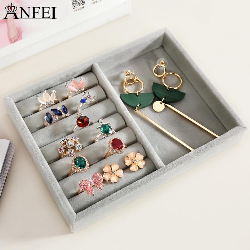 Anfei новый маленький размер ювелирные изделия Организатор лоток личный ящик организации Box ожерелье держатель кольца коробка для хранения б... ...