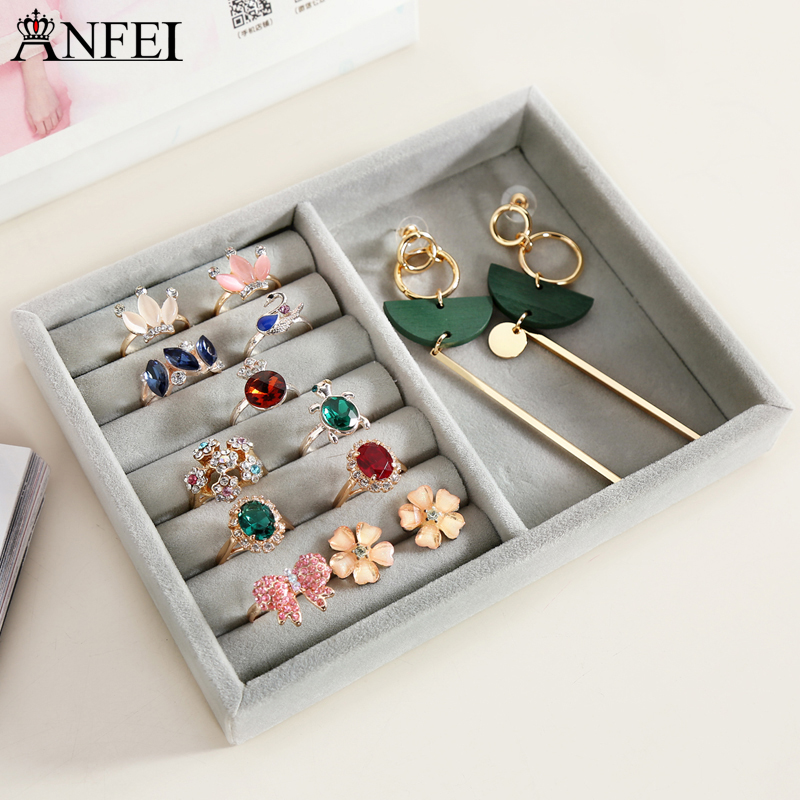 Anfei new small size jewelry organizer tray personal drawer organizing box necklace holder rings storage box velvet trays A232