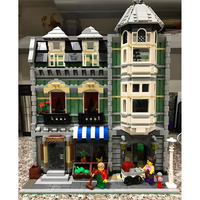 Lepinblocks Creator Expert City 84008 2462PCS Green Grocer Sets Model Building Kits Blocks Bricks Toys Compatible 15008 10185