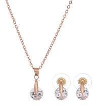 2016 Charms Women Sparkling Rhinestone Crystal Necklace Earrings Set Wedding Jewelry Sets