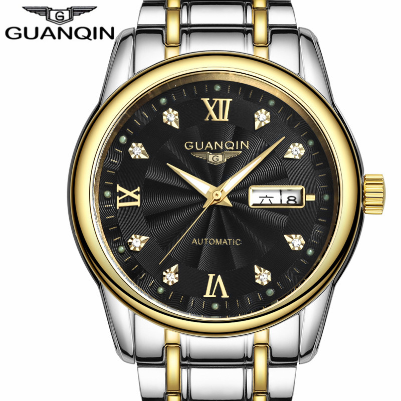 GUANQIN Business Watch Men Automatic Mechanical Date Luminous Clock Mens Watches Top Brand Luxury Steel Waterproof Wristwatch guanqin newest watch men top brand luxury men watch business automatic date mesh strap watches waterproof mechanical wristwatch