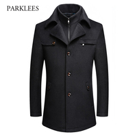 Fake Two Pieces Cashmere Coat Men 2017 Winter Mens Wool Coat Jacket Fashion Slim Fit Wool
