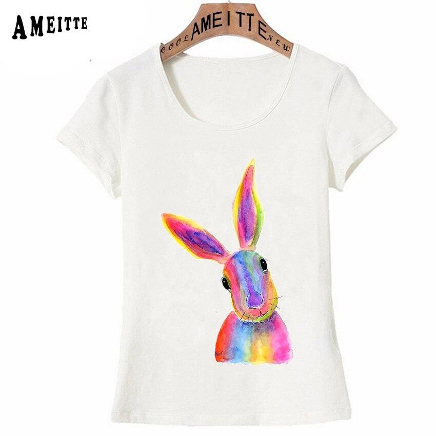 44ee61e4a1 Z6622 Femmes Nouveauté Fille shirts Mignon Lièvre z6621 Imprime T Art  Inaugural Femme Aquarelle Été shirt ...
