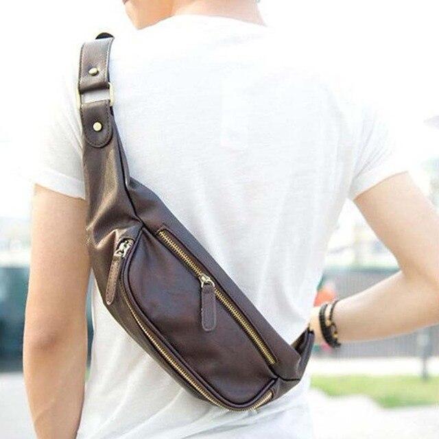 Utilidad de la marca Bolsillos Moda vintage PU Bolsa de Los Hombres de La Cintura Empaqueta bolso de la correa de la cintura A Prueba de agua