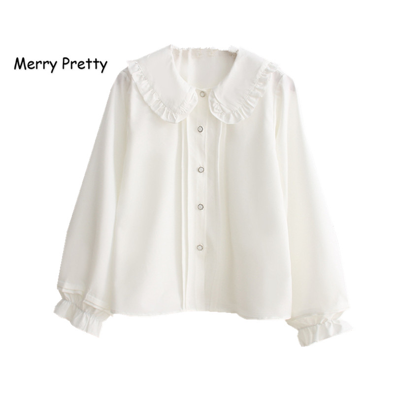 Merry Pretty white blouse women long sleeve cotton womens tops and blouses sweet Peter pan collar girl blusas mujer de moda 2020