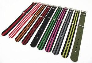 Image 4 - ¡Gran oferta! Correa de reloj de nailon de alta calidad, 10 unidades por lote, correas NATO zulu de 24MM, resistente al agua, 10 colores