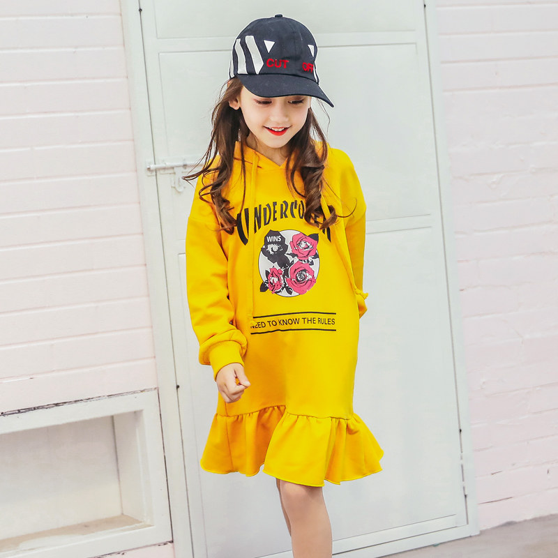 2018 Girls Dress Mustard Bright Yellow Color The Rose Print Teenage Kids Clothes Fashion Hooded Dress Age5678910 11 12 Years old cat print hooded dress