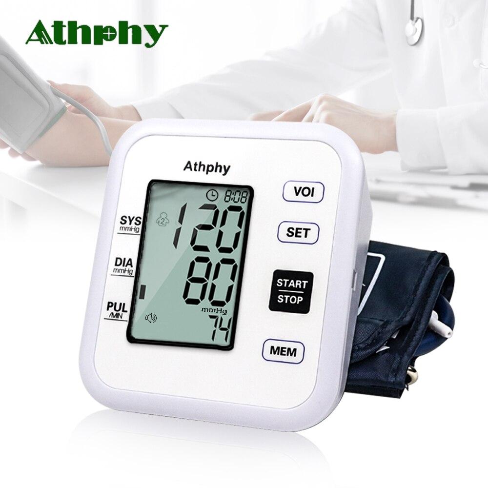 e8dae665d Athphy Digital LCD Monitor de Pressão Arterial Braço Superior Batimento  Cardíaco Medida Medidor de Teste Tonômetro Automático Quente Cuidados de  Saúde Por ...