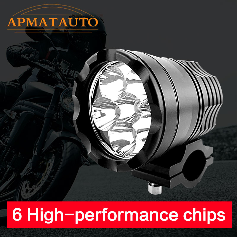 1X 90W Wite 6000K 7800LM  6PCS Whith CREE Chips LED Motorcycle Headlight Fog Spot HeadLamp Spotlight Waterproof Motorbike Bulb