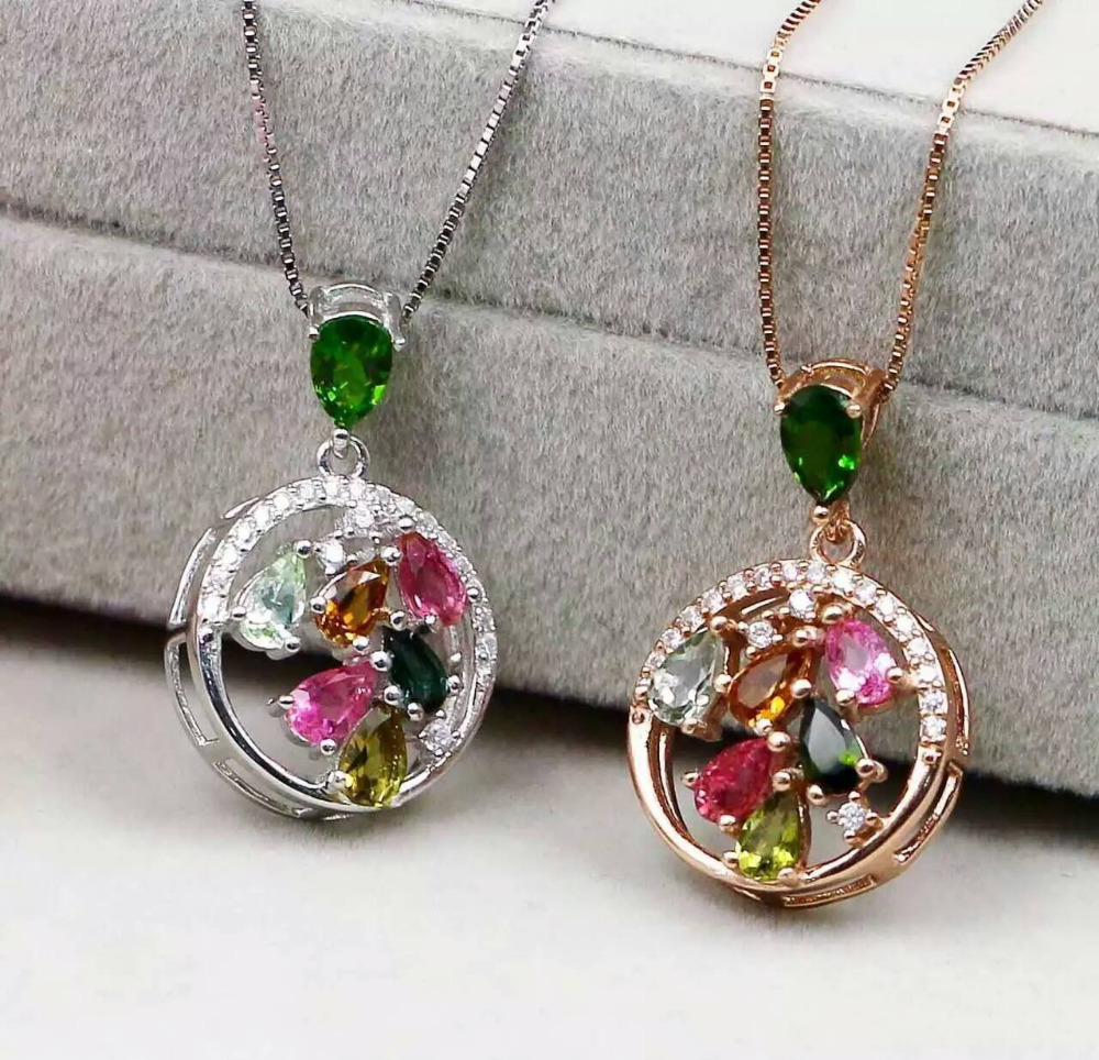 natural Multi-color diopside pendant S925 silver Natural tourmaline Pendant Necklace trendy round garden women party jewelrynatural Multi-color diopside pendant S925 silver Natural tourmaline Pendant Necklace trendy round garden women party jewelry