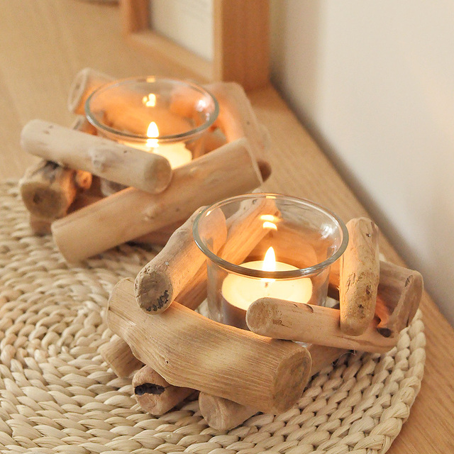 Handgefertigten Holz Glas Kerzenstander Vintage Holz Teelichthalter