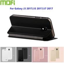 e09b9105c4d Mofi Original para Samsung Galaxy J3 2017 caso cuero Flip de lujo cubierta  estilo libro para Galaxy j3 J5 J7 2017