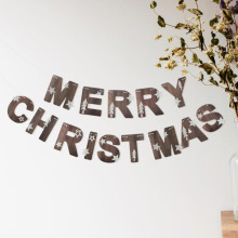 Merry Christmas Banner New Nature Color Holiday Garland Festive Bunting for Xmas Party Fireplace Mantel new nature color merry christmas banner with glitter stars trees holiday garland festive bunting for xmas party fireplace mantel