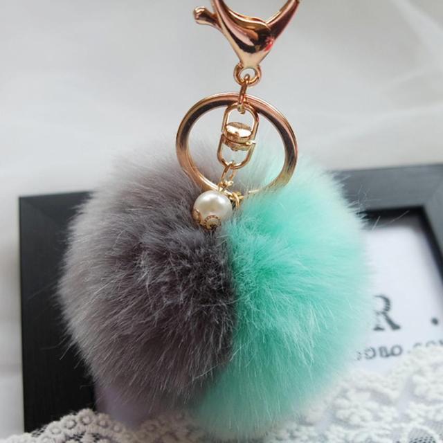 Amazing Faux Rabbit Fur Ball Plush Keychain for Bag Car Key Ring Car Key Pendant
