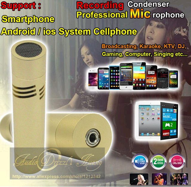 Mini Condenser Recording Microphone Karaoke Mic PC Mike For Samsung Cellphone IOS / Android Mobile Phone With Headset Microphone