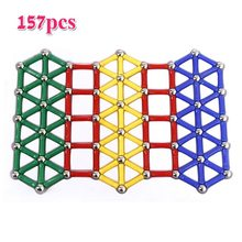 157pcs/set Magnet Bars Metal Balls Design Blocks Mini Bead Stick Geometric Figure Construction Toys For Kid Intelligence Gift(China)