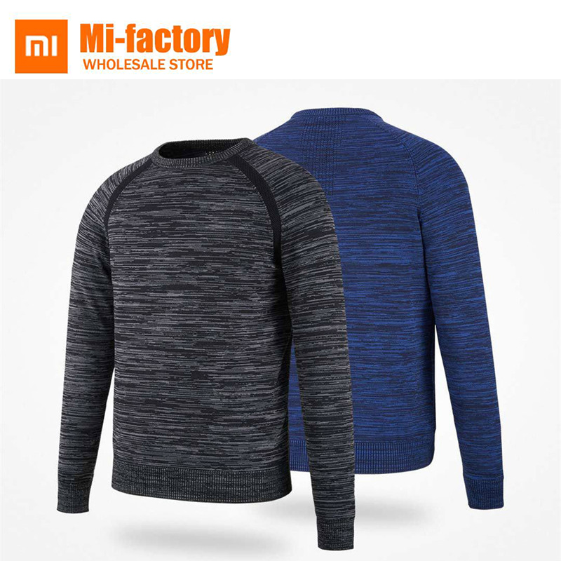 все цены на Xiaomi MITOWN Autumn Winter Men Fly Knit Elastic Sweater Jumper Crewneck O-Neck Warm Light Fashion Sweater Pullovers New Arrival
