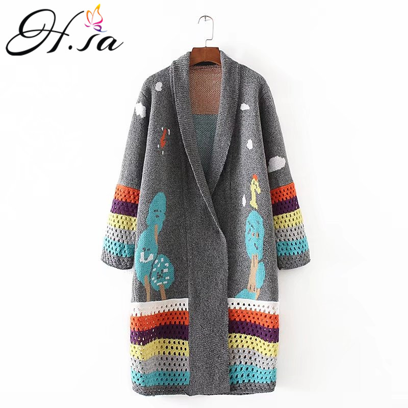 H.SA cardigan feminino 2017 Autumn Winter Long Cardigans Knitted Coat Women Cute Long Poncho Sweaters Crochet sueter mujer