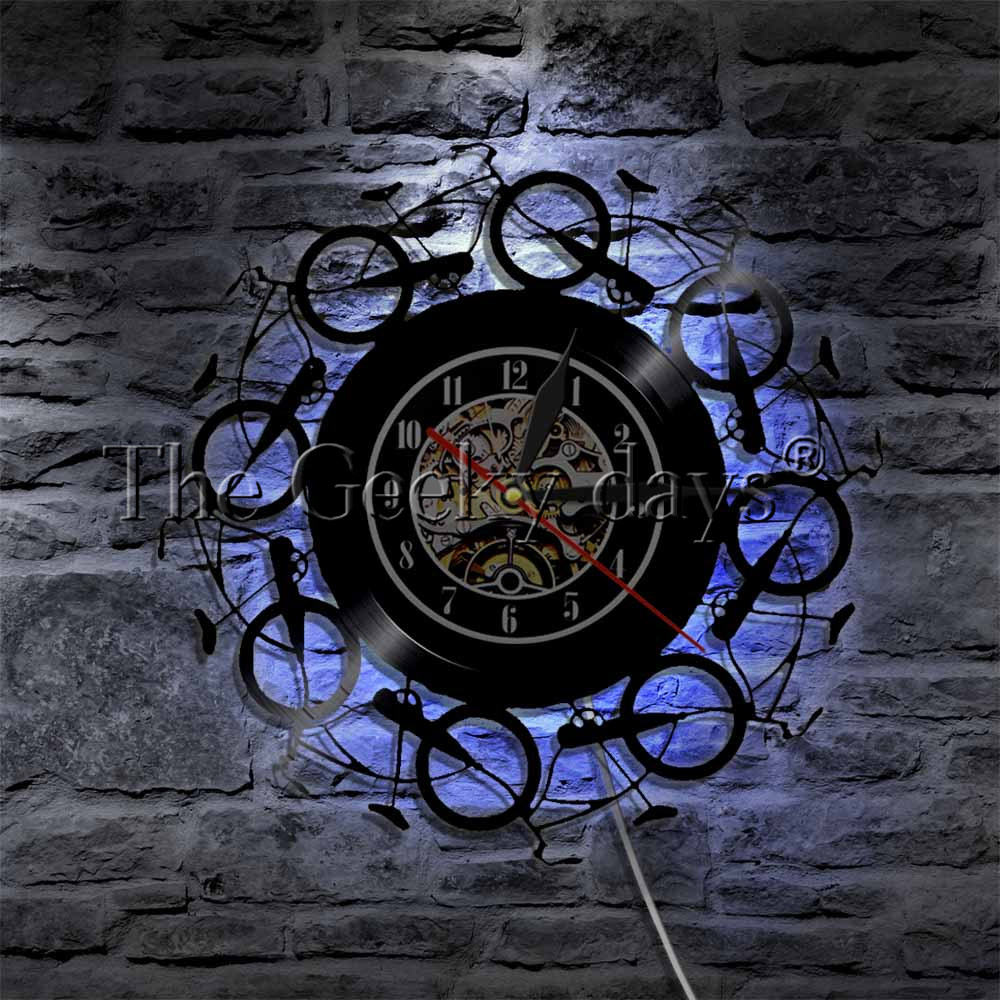 цена на 1Piece Retro Vintage Bike LED Lighting Color Changing Vinyl Record Wall Clock Cycling Bicycles Bike Wheel Home Decor Art
