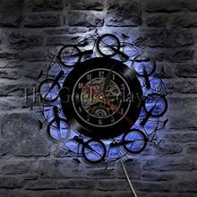 1 pieza Retro Vintage bicicleta LED iluminación vinilo que cambia de color disco Reloj de pared ciclismo bicicleta rueda decoración del hogar arte