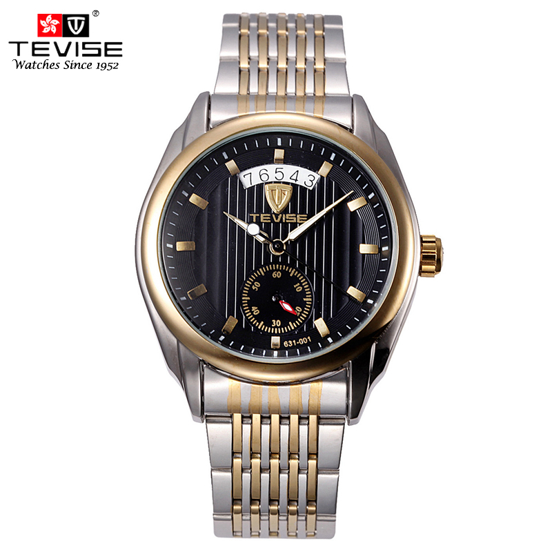 TEVISE Mechanical Wrist Watch Self-Wind Mens Automatic Watch Stainless Steel Fashion Causal Silver Wristwatches 631 with tool stainless steel cuticle removal shovel tool silver