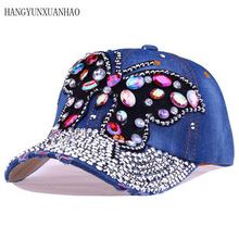 2017 Fall Baseball Cap Women Full Crystal Colorful Big Butterfly Hat Denim Bling Rhinestone Snapback Caps Casquette Summer Hats hot sale hotlinebling snapback sportcap drake hotline bling hat pink 6 panel snapback baseball cap gold denim hat