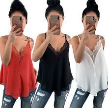 2019 Women Ladies Hot Lace Trim Strappy V Neck Chiffon Sheer Cami Party Top Vest Blouse Camisole lace panel strappy cami bandeau
