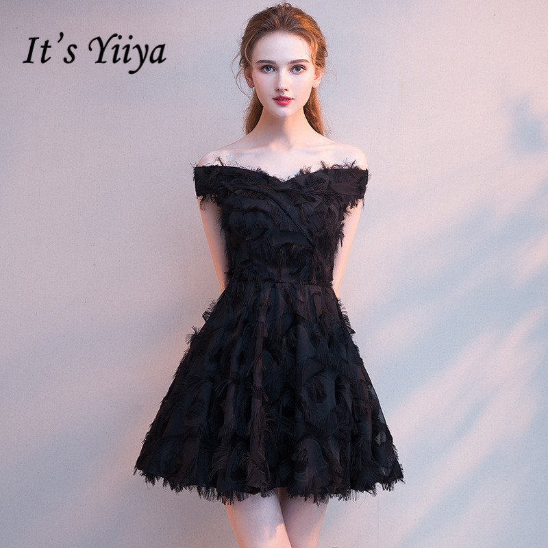 It's YiiYa   Prom     Dress   Boat Neck Little Black Short Party   Dresses   Fashion Tassel Knee-length Formal Gown For Girls 5 colors E032