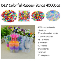 DOLLRYGA Loom Rubber Bands for Kids Gum for Weaving Dla Dzieci Telar Handicraft Diy Set Additives for Slices 15Color 4500PCS Kit