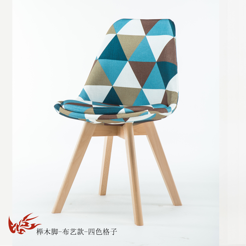 Простой стул Мода нордическая ткань; Массивная древесина обеденный стул кофе отель встречи, чтобы обсудить домашний табурет - Цвет: 19