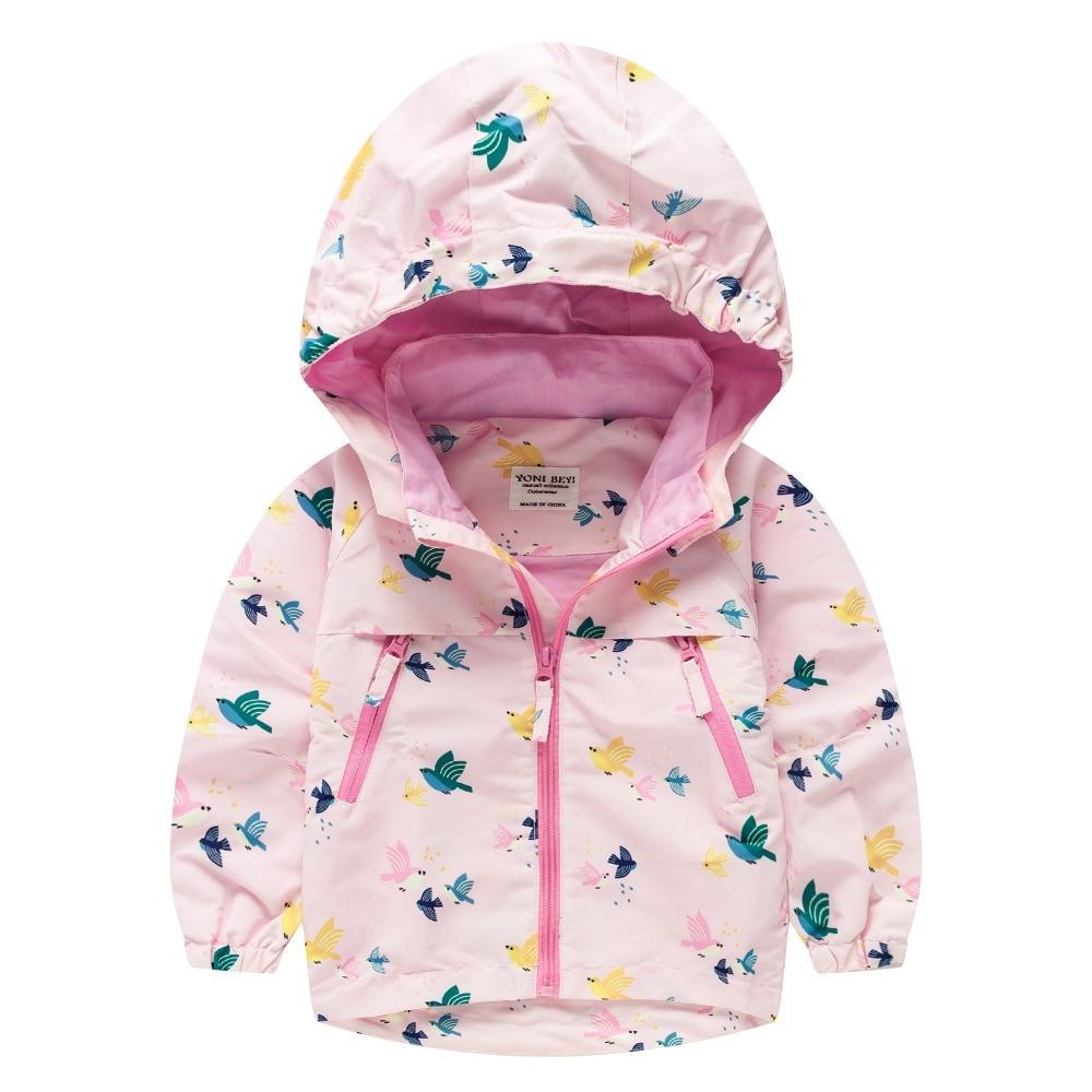 TYY-01 Autumn Winter Fashion bird Cartoon Coat Hoodie Child Jacket Girls Tops Windbreaker cute Print Thin Coat Summer Thin Jacke letter print raglan hoodie
