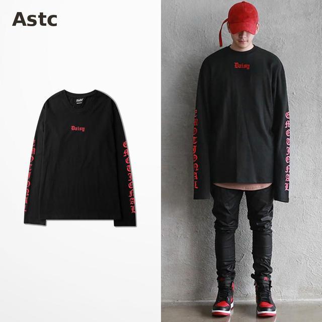 Poppin Long Sleeve T-shirt Retro Hip Hop New Gothic Style Men Korean Fashion Novelty T Shirt West Coast Skateboard T Shirts Kpop