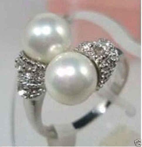 > >>>เครื่องประดับสีขาวมุกแหวนชุบเงินขนาด7,8, 9แหวน