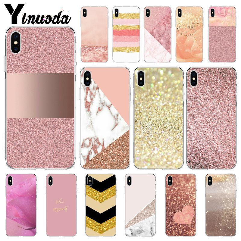 Yinuoda Gold Pink rose Glitter Dust Proof Phone Shell for iPhone i8 i7 i6 i6S Plus i5S iX iXR XS MAX Case Cover