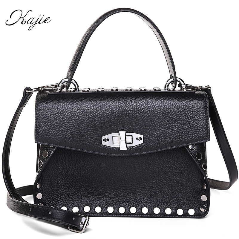 Kajie Real Leather Rivet Women Genuine Cow Skin Handbag Shoulder Bag Ladies High Quality Designer Luxury Brand Crossbody Bag genuine leather studded satchel bag women s 2016 saffiano cute small metal rivet trapeze shoulder crossbody bag handbag