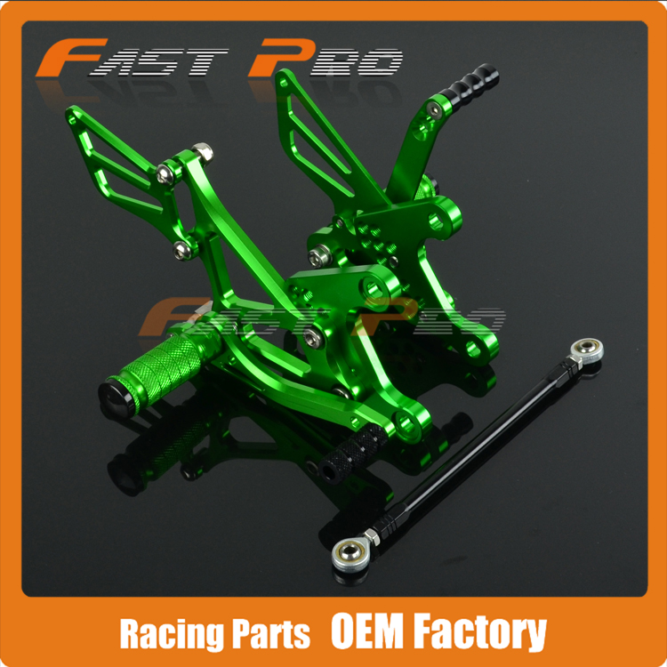 CNC Motorcycle Adjustable Billet Foot Pegs Pedals Rest For KAWASAKI ZX6R ZX-6R ZX 6R 2005 2006 2007 2008 feron 25760