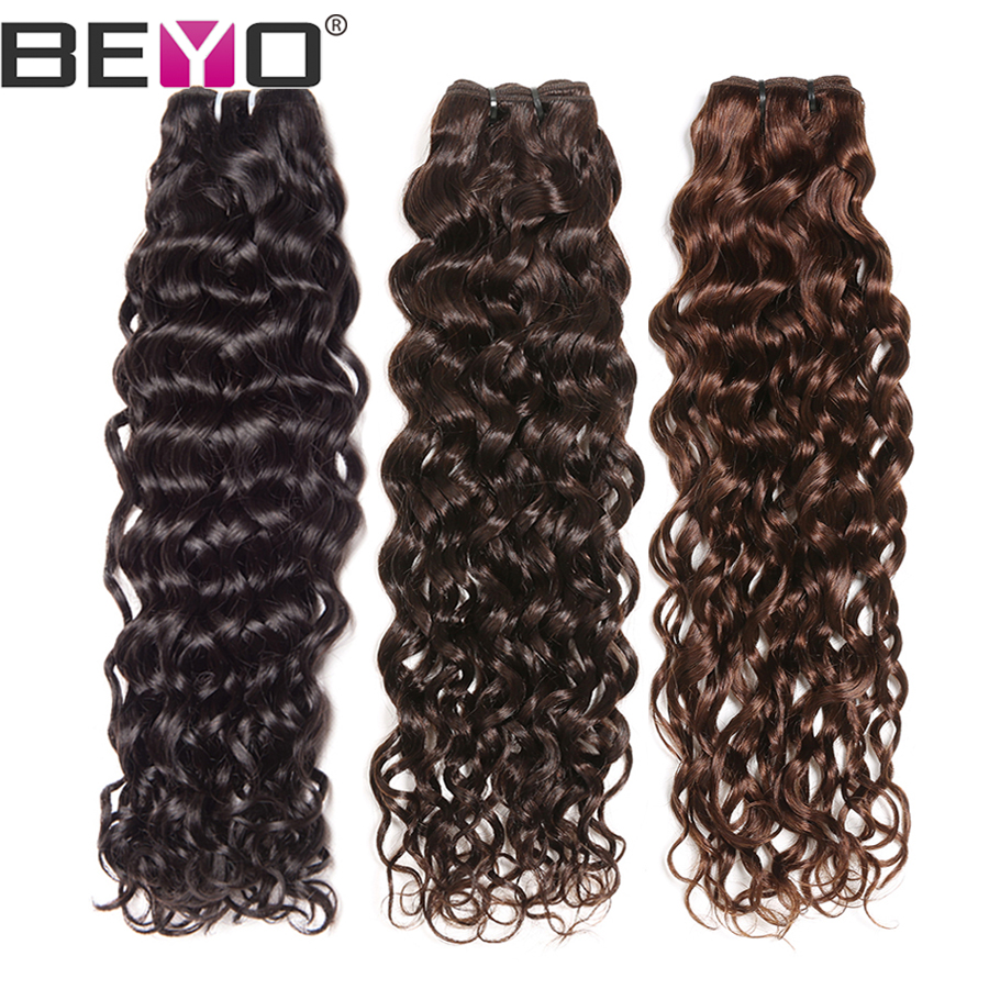 Peruvian Water Wave Hair Bundles Mänskliga Hårpaket 1/3/4 Bundle Deals 10-28 '' # 2 / # 4 / Natural Color Non-Remy Hair Extension Beyo