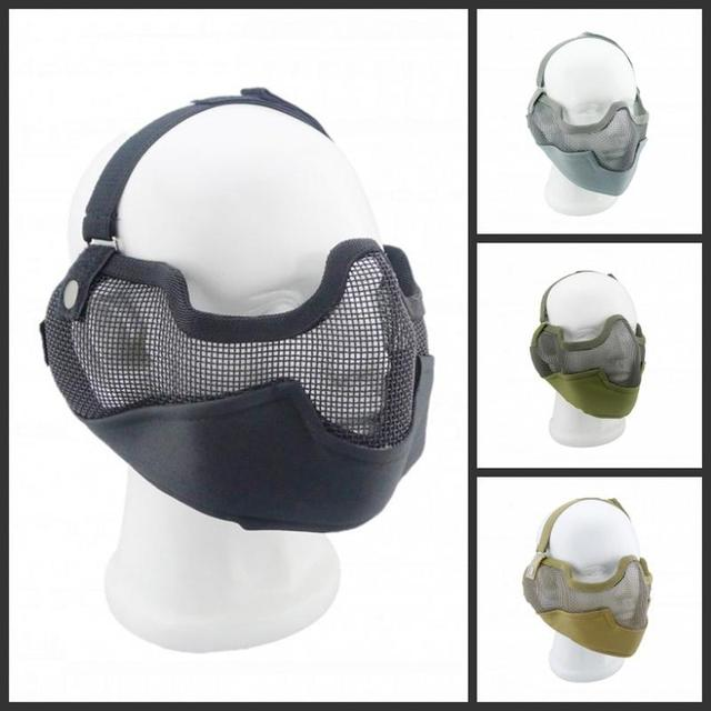 Protección de seguridad Al Aire Libre Wargame Tactical Paintball Airsoft de La Cara Llena CS Máscara Protectora Guardia de Malla Metálica Media Mascarilla