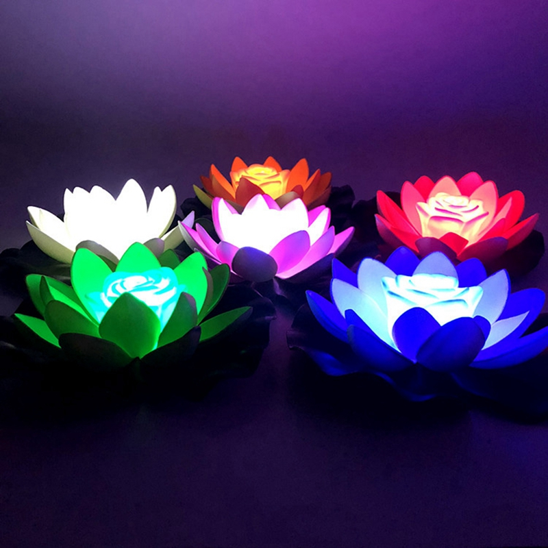 Garden LED Floating Lotus Flower Lamps On Water Swimming Pool Garden Decorations Light Tank Pond Decor