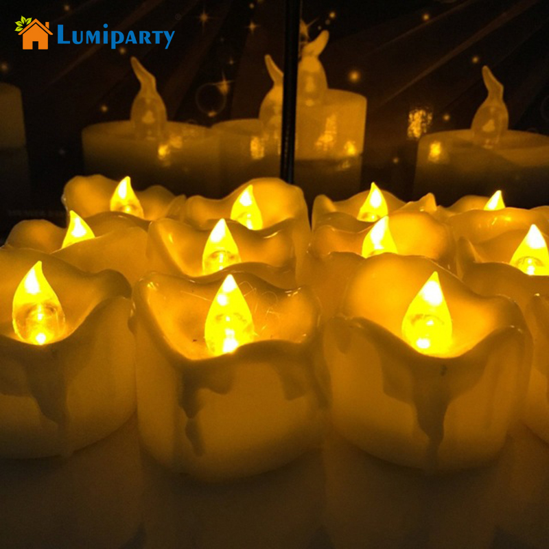 Lumiparty 12pcs Amber Yellow Flickering Flameless LED Tea Light Candles Drop Tear Birthday Candle for Wedding Christmas Decor