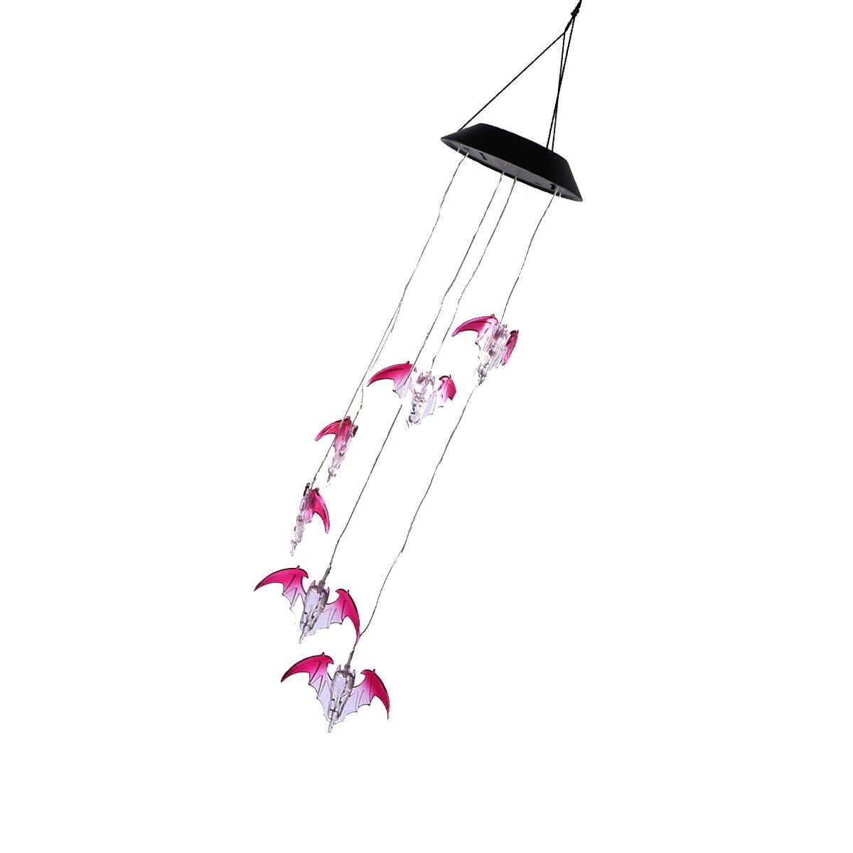 WINOMO светодиодный Solar Wind Chime Bat Цвет Изменение мобильный Wind Chime свет для Офис вечерние сад балкон Спальня