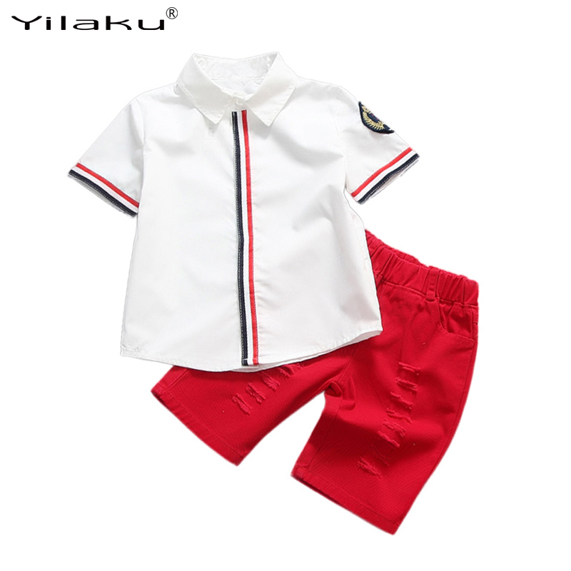 2017 New Summer Boys Clothing Set Kids Short Sleeve Cotton Floral Print T-shirts+Pants Clothes Sets Children Costume CF382 kids clothes summer brand t shirt boys girls t shirts kids polo shirts children classic sport cheaper tees short sleeve clothing