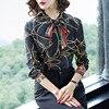 2018 New Runway Designer Spring Silk Blouse Women Long Sleeves Bow Neck Vintage Print Womens Top