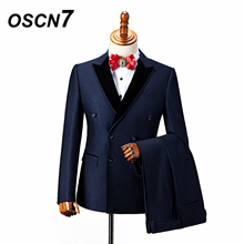OSCN7 Double Breasted Tailor Made Suits Gentleman Event Wedding Dress Custom Made Suit Fashion Tuxedo