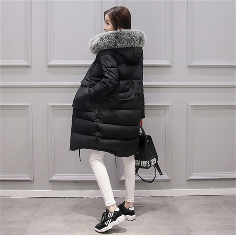 2016 new winter Jacket women coat bigger fur collar parka full sleeve thick cotton slim pockets casual warm fashion coat коврики в салон land rover defender 110 5d 2007