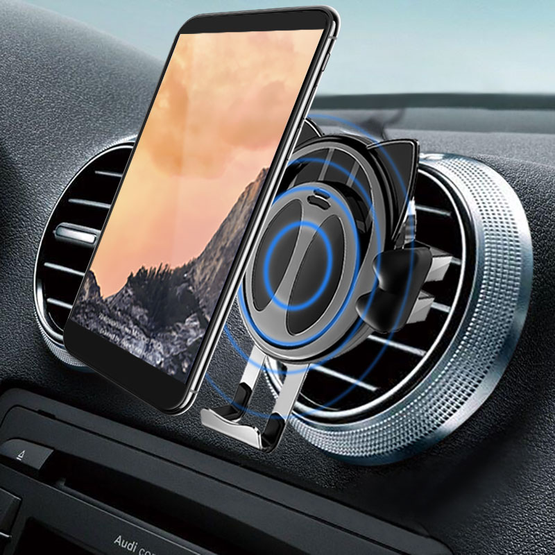 Remax QI Wireless Charger Car Holder For iPhone X 8P 7 7P Air Vent Gravity Fast Charger Mobile Stand For Samsung Galaxy S9 Plus